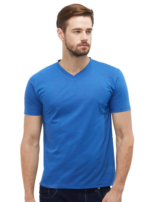 Royal Blue V Neck Plain T-Shirt