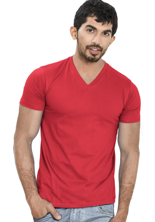 Red V Neck Plain T-Shirt