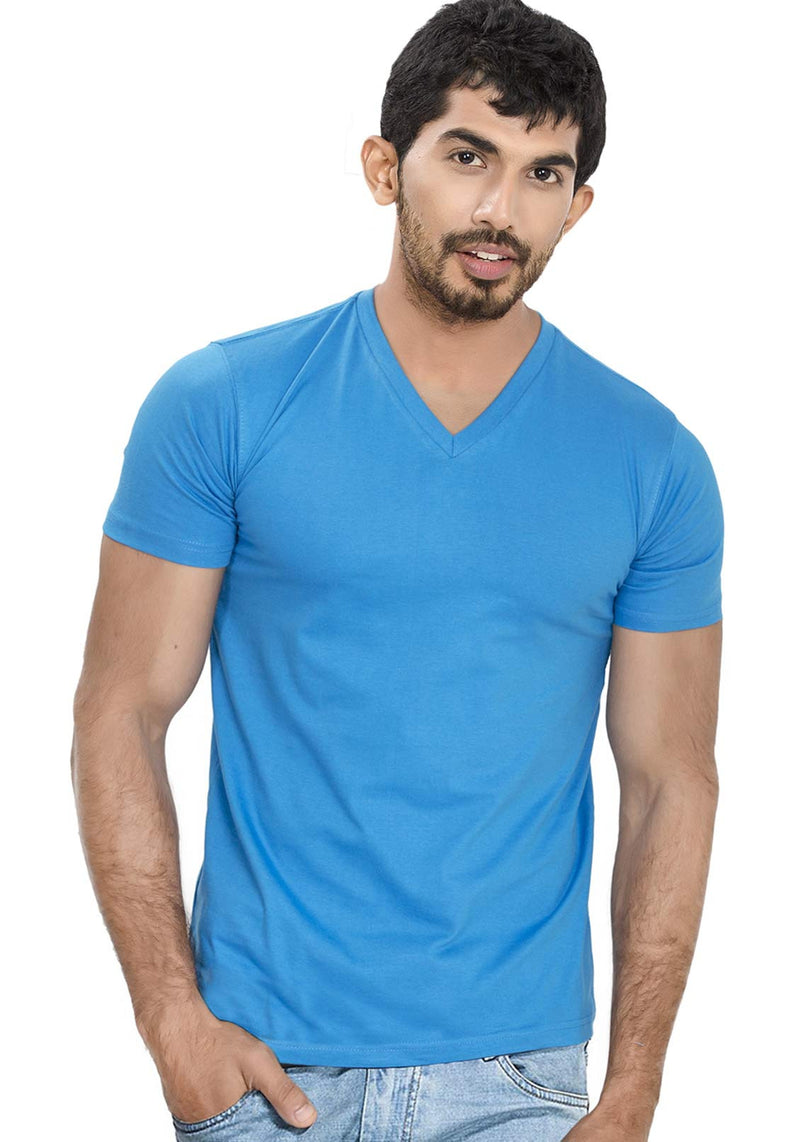 Seablue V Neck Plain T-Shirt