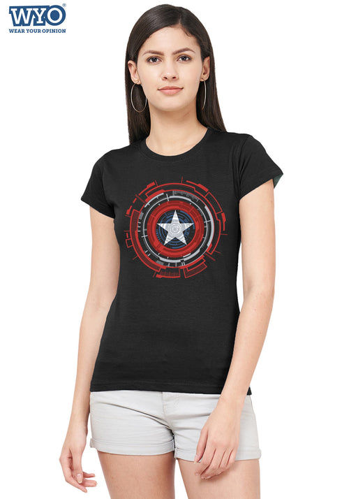 Technical Shield Captain America Women Tshirt