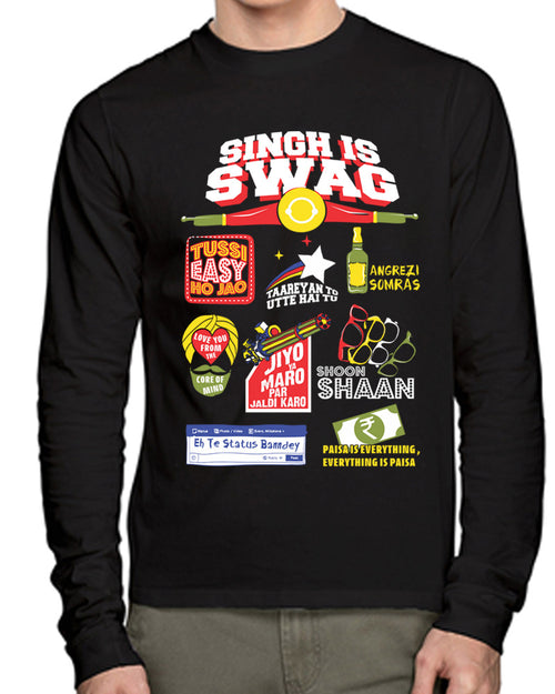 Singh Is Swag Full Sleeves T-Shirt - Wear Your Opinion - WYO.in  - 1