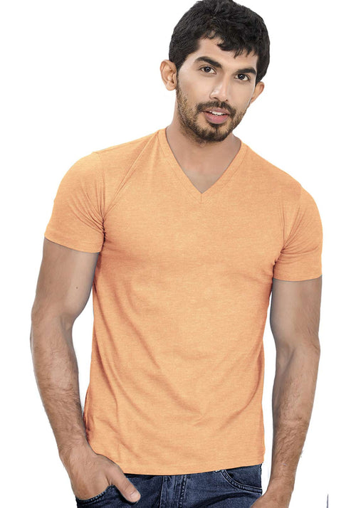 Tangerine V Neck Plain T-Shirt