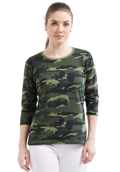 Plain Women's 3/4 Sleeve - Green Camo