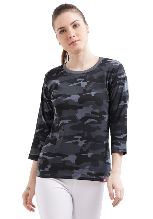 Plain Women's 3/4 Sleeve - Grey Camo