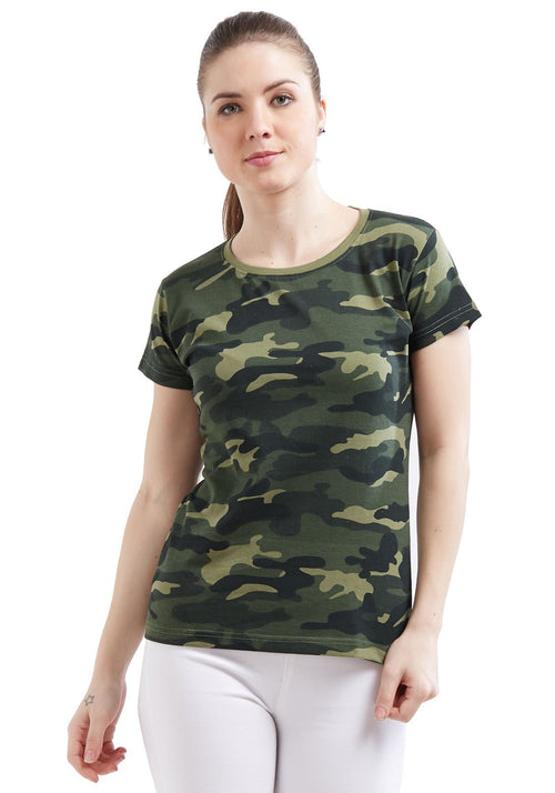 Plain Women's Tshirt - Green Camo
