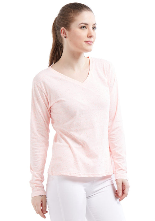 Naps Women Full Sleeve V Neck - Light Pink