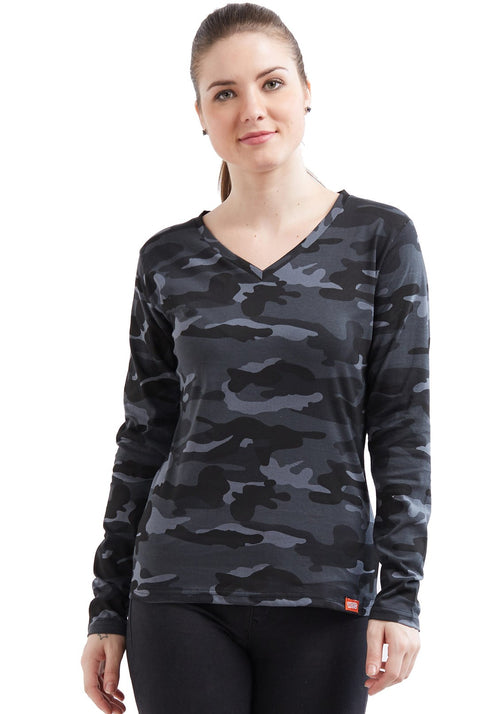 Women Full Sleeve V Neck - Grey Camo