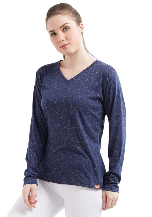 Naps Women Full Sleeve V Neck - Navy