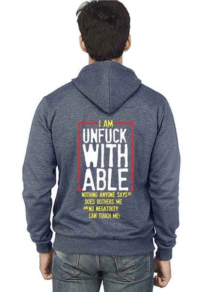 Unfuckable Back Print Zipper Sweatshirt - Wear Your Opinion - WYO.in