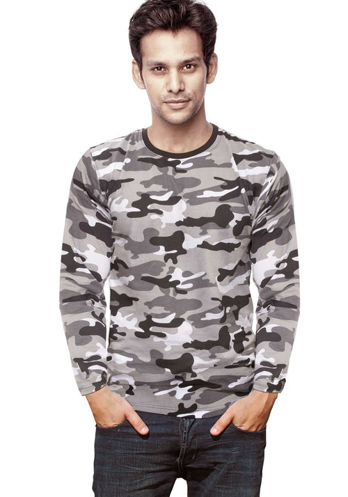 Plain Full Sleeves Tshirt - White Camo - Wear Your Opinion - WYO.in