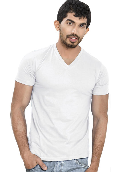 White V Neck Plain T-Shirt