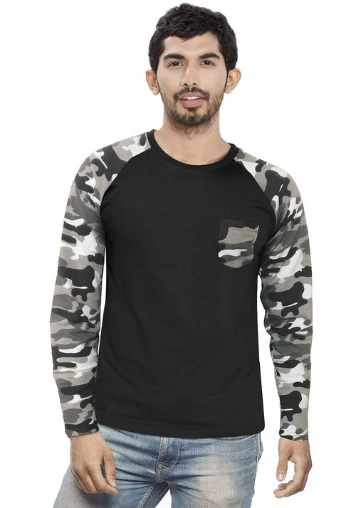 Men White Camouflage With Black Raglan Full Sleeve T-Shirt - Wear Your Opinion - WYO.in