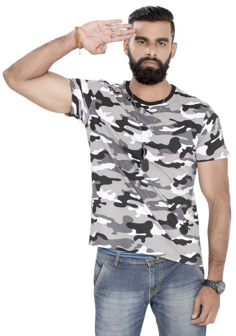 Plain Men's Tshirt - White Camo