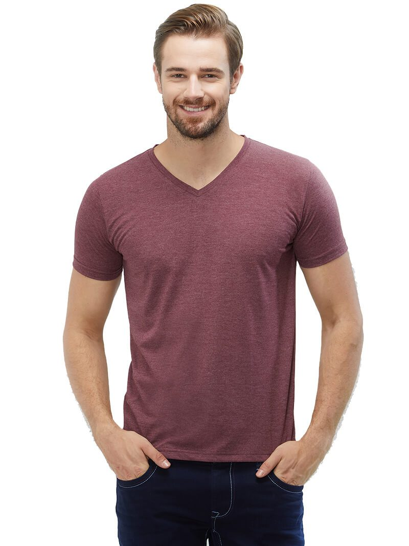Wine Mel V Neck Plain T-Shirt