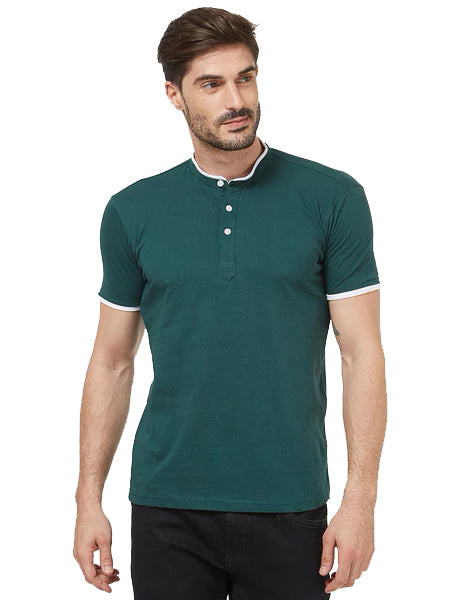 Basic Henley - Bottle Green