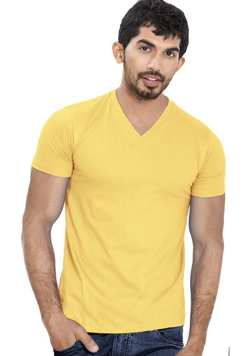 Yellow V Neck Plain T-Shirt