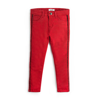 Red Glitter Tape Pants