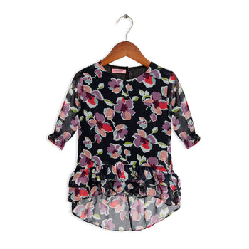 Black Printed Chiffon Top