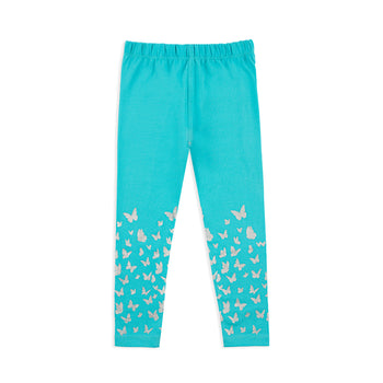 Turquoise Butterfly Leggings
