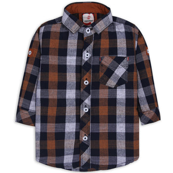 Wide Orange Checked Shirt