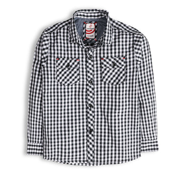 Navy Formal Checker Shirt