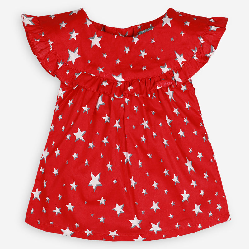 Red Starry Frill Tunic