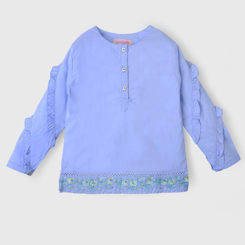 Blue Frill Sleeves Top