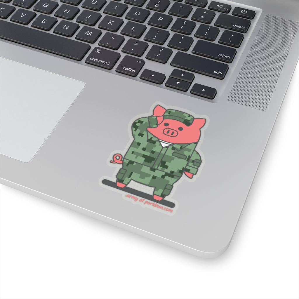.army Porkbun mascot sticker