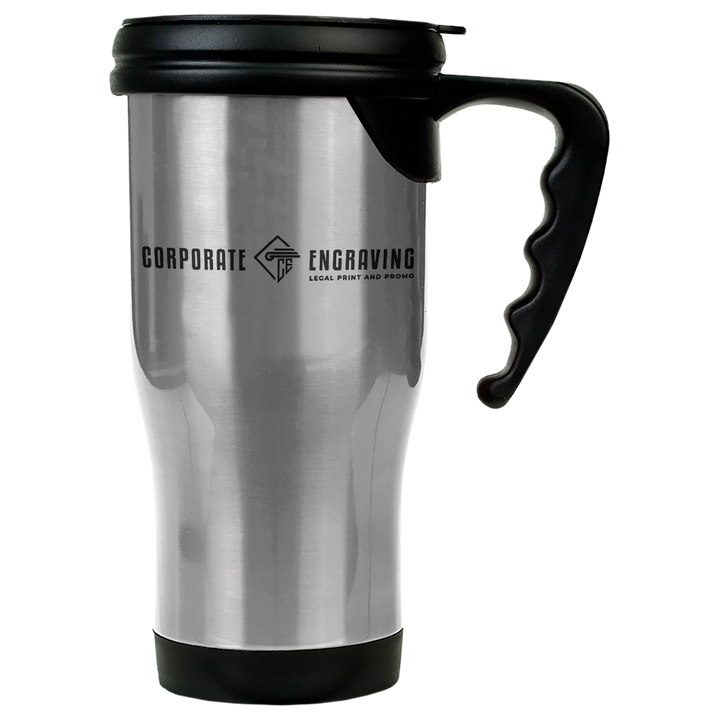 14 oz. Silver Laserable Stainless Steel Travel Mug with Handle Drinkware Corporate Engraving Silver