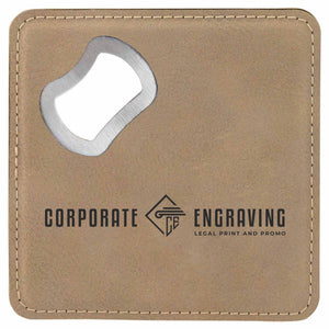 "4"" Square Leatherette Bottle Opener Coaster (Bundle of 6) Drinkware Corporate Engraving Brown"