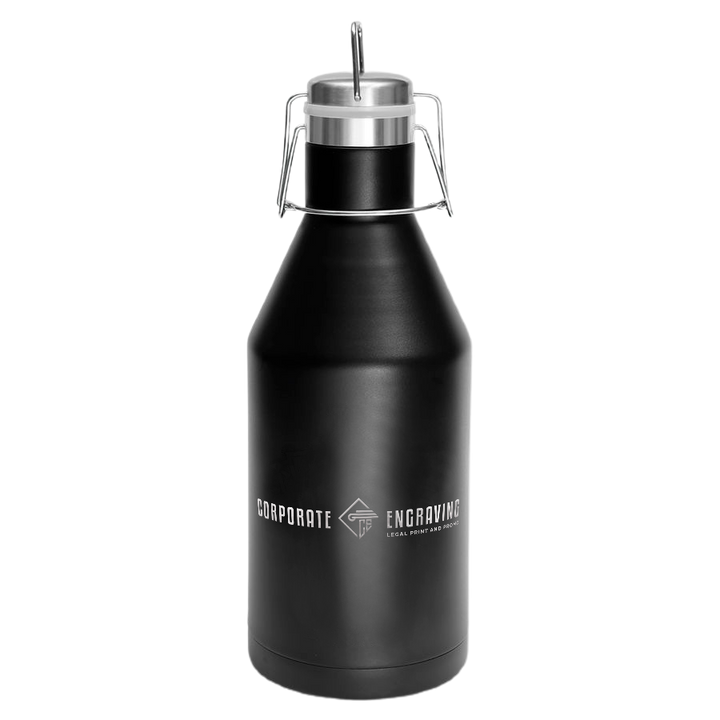 64oz Vacuum Insulated Growler with Swing-Top Lid Drinkware Corporate Engraving Black