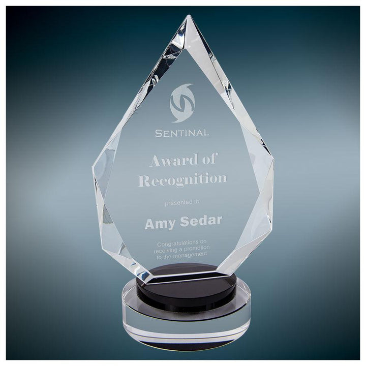 Diamond Crystal on Black & Clear Round Base Awards Corporate Engraving