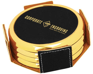 Round Black/Gold Leatherette 4-Coaster Set Coasters Corporate Engraving