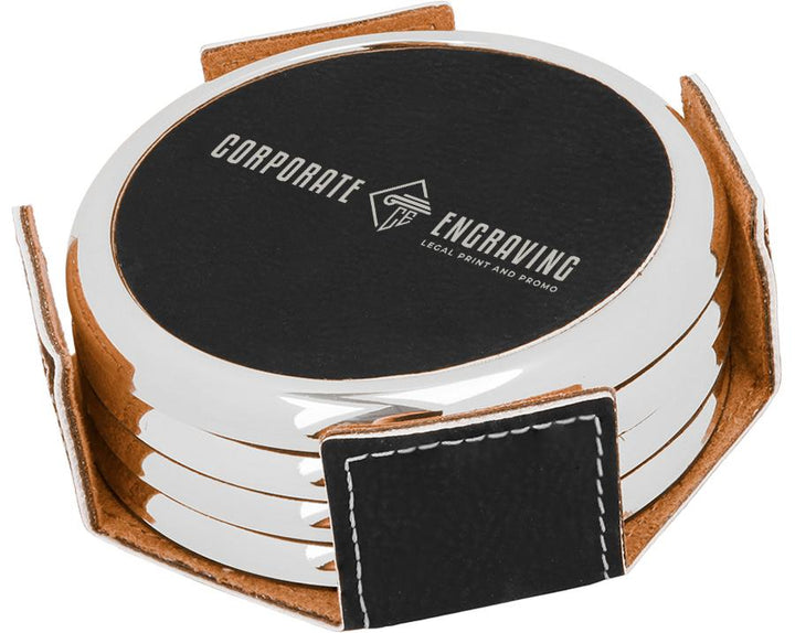 Round Black/Silver Leatherette 4-Coaster Set Coasters Corporate Engraving