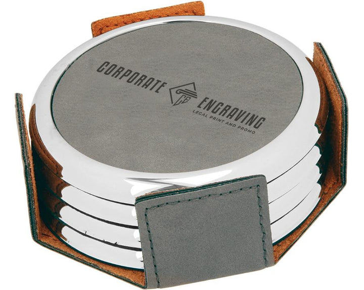 Round Gray Leatherette 4-Coaster Set Coasters Corporate Engraving