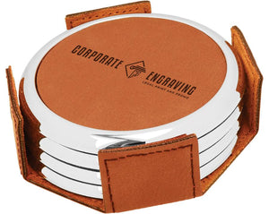 Round Rawhide Leatherette 4-Coaster Set w/Silver Edge Coasters Corporate Engraving
