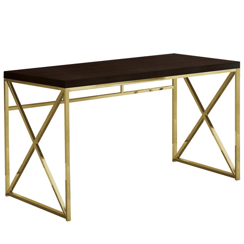 "29.75"" Particle Board and Gold Metal Computer Desk"