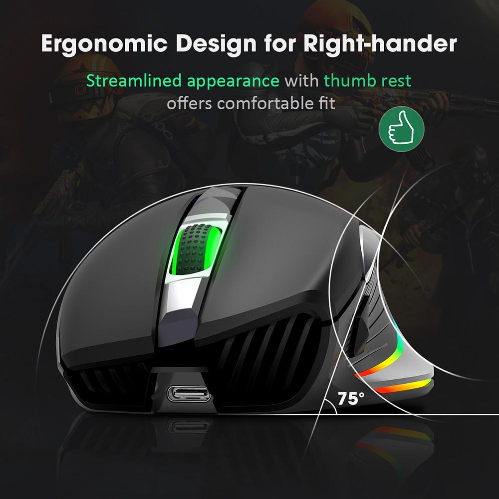 ERGONO Gaming Mouse Wireless 10000 DPI RGB