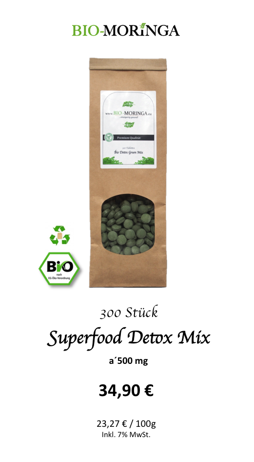 Bio Superfood Detox Mix Tabletten (a´500mg) - 300 Stück - Bio-Moringa
