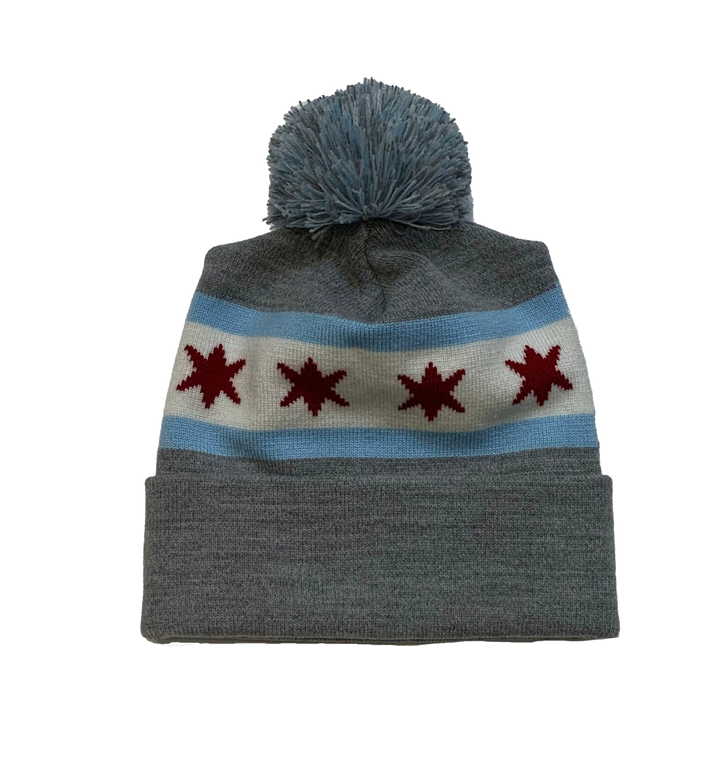 Chicago Flag Pom Pom Hat