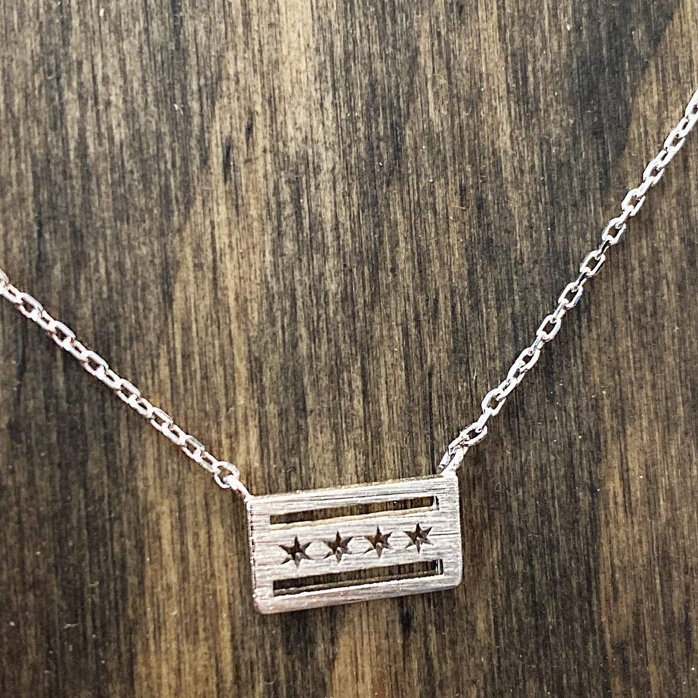 Mini Chicago Flag Necklace - Silver Plated