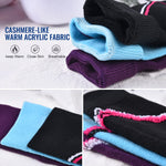 Laulax 3 Pairs Ladies Long Hose Cashmere-Like Ski Socks, Size UK 3 - 7 / Europe 36 - 40, Gift Box, Purple, Blue, Black