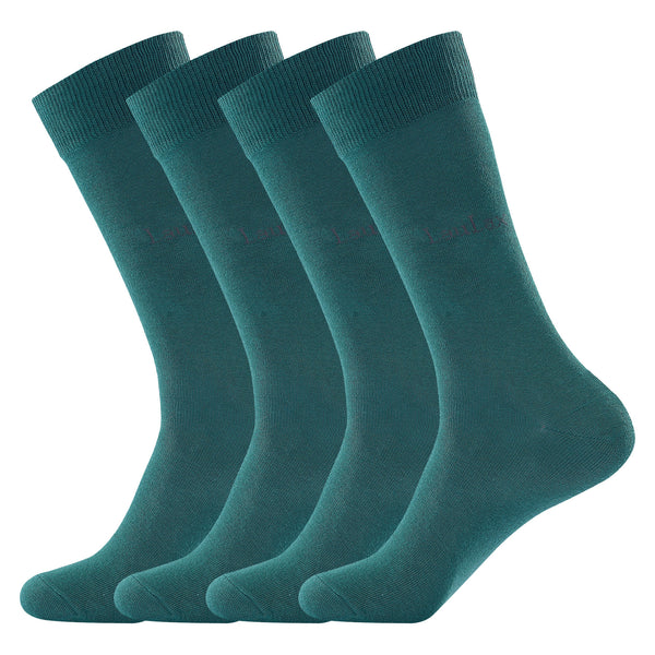 Laulax 4 Pairs Finest Combed Cotton Suit Socks in Green