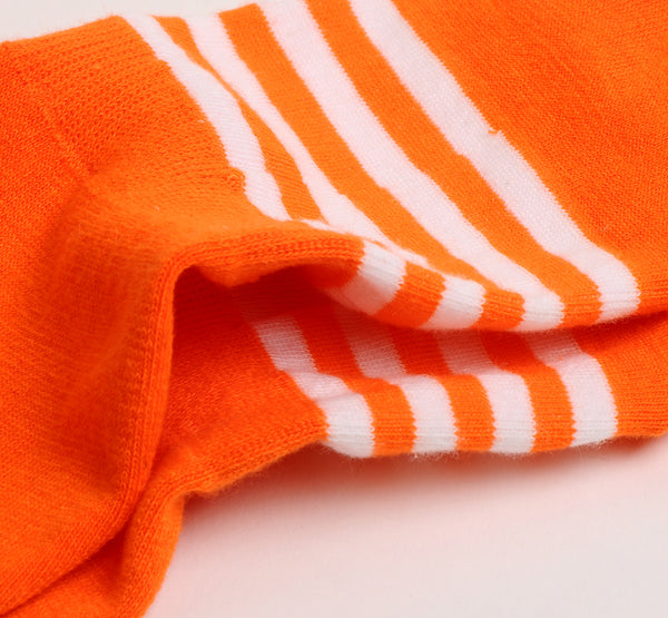 2 Pairs Finest Combed Cotton Invisible Socks Striped Orange