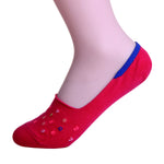 2 Pairs Finest Combed Cotton Invisible Socks, Red Numbers