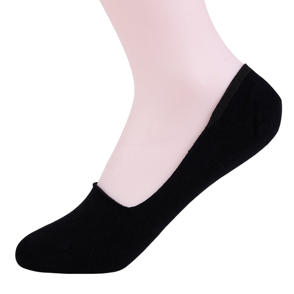 2 Pairs Finest Combed Cotton Invisible Socks Plain Black