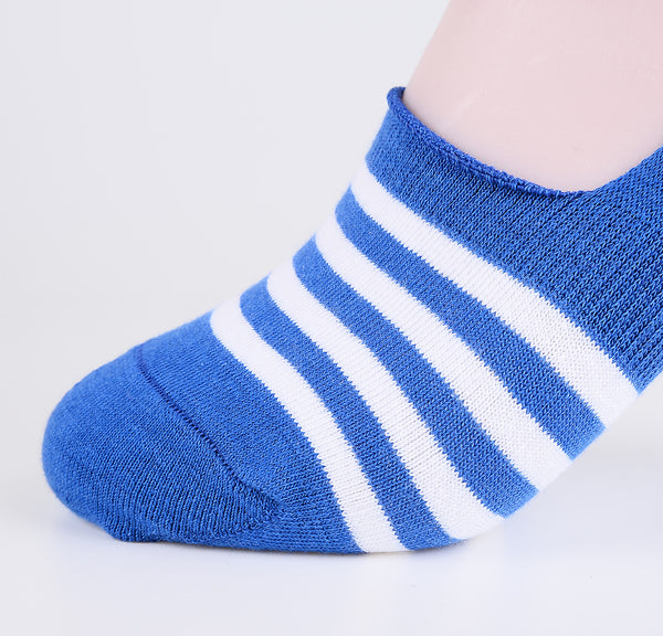 2 Pairs Finest Combed Cotton Invisible Socks Striped Blue
