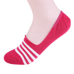 2 Pairs Finest Combed Cotton Invisible Socks Striped Cerise