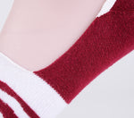 2 Pairs Finest Combed Cotton men Invisible Socks Striped Burgandy