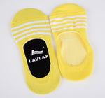 2 Pairs Finest Combed Cotton Invisible Socks Striped Yellow